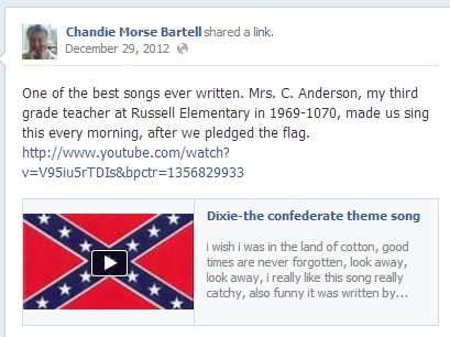 facebook post image, featuring a confederate flag