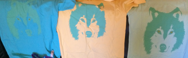 Bright colored wolf face shirts.