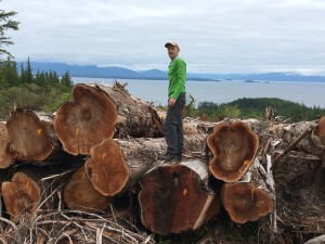 Oliver Stiefel of CRAG wishing that the legal system worked faster. On the ground at the Big Thorne sale, Prince of Wales Island, Alaska.