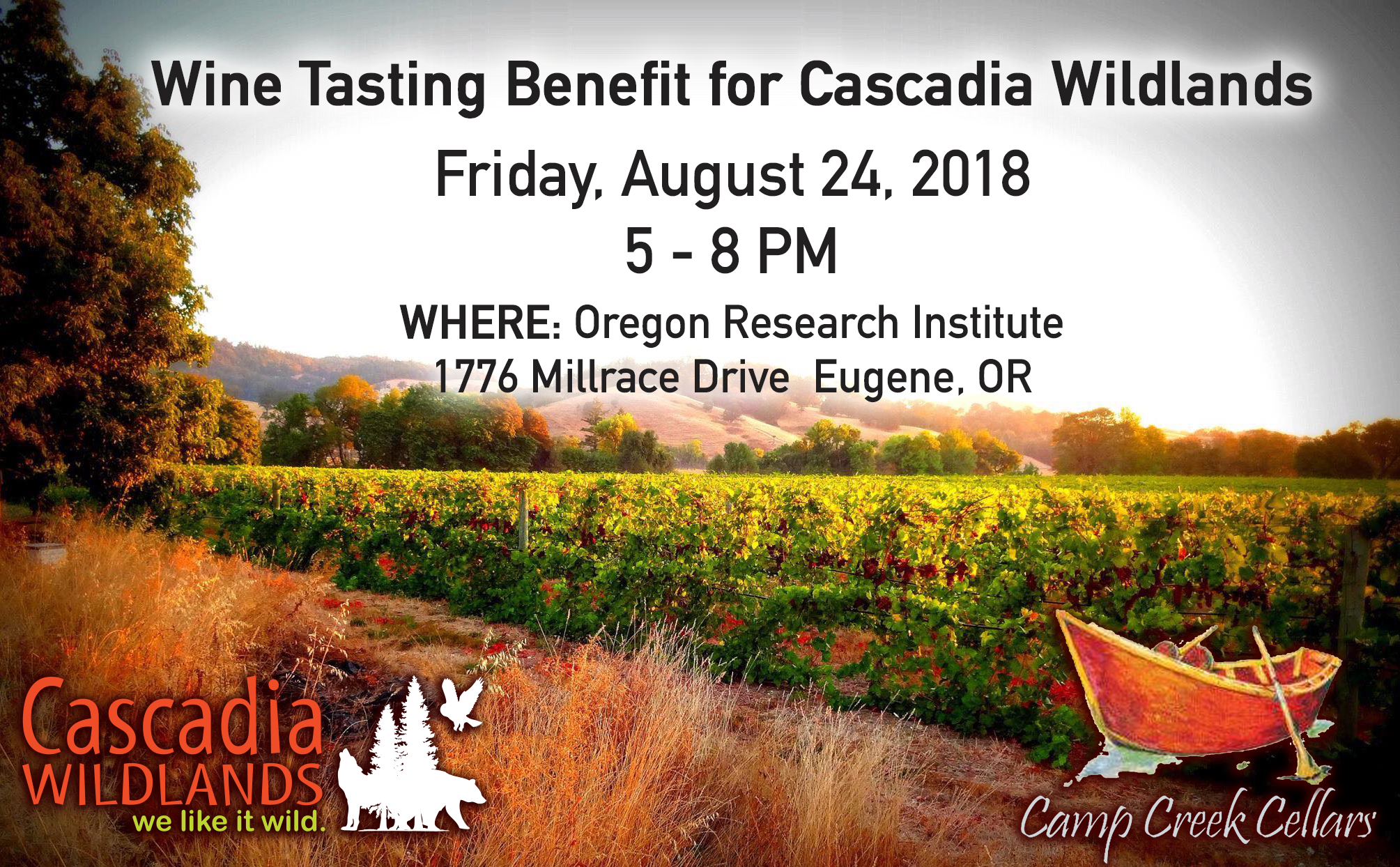 Wine Tasting for Cascadia! Benefit Event — Friday, August 24, 2018