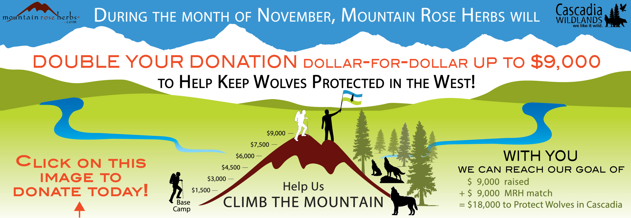 Cascadia Wildlands Fundraiser Fundraising for Wolves and Wolf Protection in the West with Mountain Rose Herbs