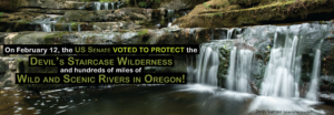 US Senate voted to protect the Devil's Staircase Wilderness and hundreds of miles of Wild and Scenic Rivers in Oregon